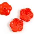 Czech Glass Pinwheel Flowers 12 mm Scarlet 10 pcs