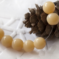 Czech Glass Round Beads 6mm Milky Beige 20 pcs