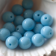 Czech Glass Round Beads 6mm Light/Sky Blue 20 pcs