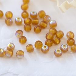 Czech Round Glass Beads 3 mm Light Brown/Amber AB 100 pcs