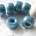 Pressed Roller Beads 9x5 mm Luster Deep Sky Blue Large Hole 10 pcs