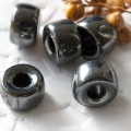 Pressed Roller Beads 9x5 mm Luster Black Large Hole 10 pcs