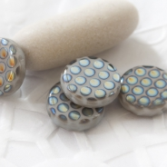 Czech Glass Coins 10 mm Luster Gray 10 pcs