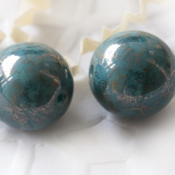 Czech Glass Round Beads 11 mm Turquoise Marbled Gold Finish 6 pcs
