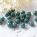 Czech Glass Round Beads 4 mm Turquoise Marbled Gold Finish 50 pcs