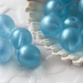 Czech Round Glass Beads 7 mm Luster Aqua Blue Mat 10 pcs