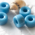 Pressed Roller Beads 9x5 mm Deep Sky Blue Large Hole 10 pcs