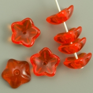 Czech Glass Flower Caps 10 mm Orange 10 pcs
