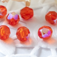 Czech Fire Polished Beads 6 mm Orange AB 10 pcs
