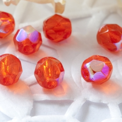 Czech Fire Polished Beads 6 mm Orange AB 10 pcs