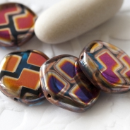 Czech Glass Coins 15 mm Luster Multicolored 6 pcs
