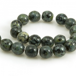 Round Green-Grey Picasso Czech Beads 6 mm 20 pcs