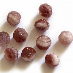 Czech Glass Beads 7 mm vinous-white roses 10 pcs