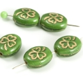 Czech Glass Beads 10x8 mm Green/Golden Lined 10 pcs