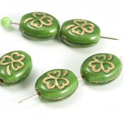 Czech Glass Beads 10x8 mm Green/Golden Lined 10 pcs