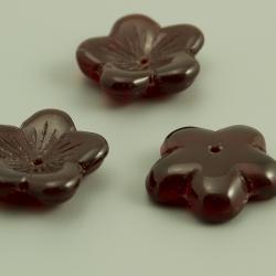 Czech Glass Bead-Caps 16mm Garnet Red 6 pcs