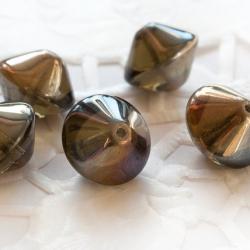 Czech Glass Rivoli 10x12 mm Gray with Finish 6 pcs