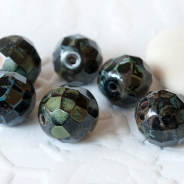 Czech Fire Polished Beads 10 mm Gray-Green Picasso 10 pcs.