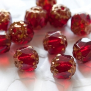 Cathedral Fire-Polished Beads 6mm Dark Red 10 pcs
