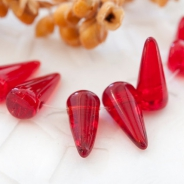 Czech Glass Spike Beads 5x10 mm Red 20 pcs