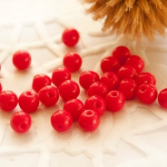 Czech Round Glass Beads 4 mm Red 50 pcs