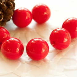 Czech Round Glass Beads 9 mm Red 10 pcs