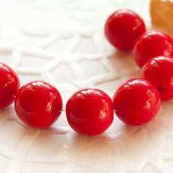 Czech Round Glass Beads 8 mm Red 10 pcs
