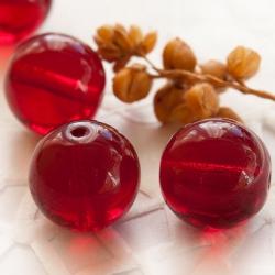 Czech Round Glass Beads 11 mm Garnet Red 6 pcs