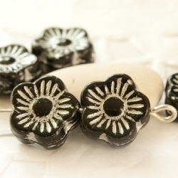 Czech Glass Flowers 10 mm Black with Silver inlays 10 pcs