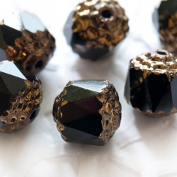 Cathedral Fire-Polished Beads 8 mm black 6 pcs