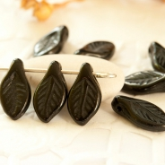 Czech glass leaves 12x6 mm black 20 pcs