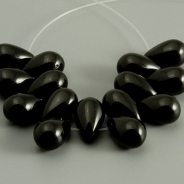 Czech Glass Drops 9x6 mm Black 10 pcs.