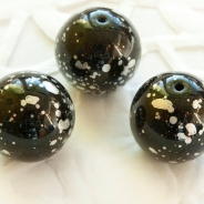12 mm Czech Ball Glass Beads, Black with Silver Finish 6 pcs