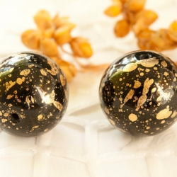 14 mm Czech Ball Glass Beads, Black with Golden Finish 4 pcs