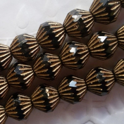 Fire Polished Bicone Beads 11 mm Black with Golden Tops 4 pcs