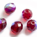 Fire Polished Beads 10 mm Garnet Red 6 pcs