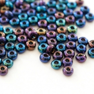 8/0 Czech Glass Seed Beads Preciosa 20g dark with AB Finish
