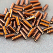 "5"" Czech Glass Seed Beads Bugles Preciosa (20g) Luster Brown/Bronze"