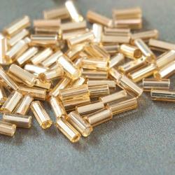 "5"" Czech Glass Seed Beads Bugles Preciosa (20g) Luster Yellow/Gold"