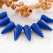 Czech Glass Spike Beads 5x10 mm Navy Blue 20 pcs