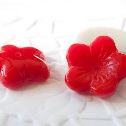 Czech Glass Bead-Caps 16 mm Red 4 pcs