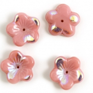 16 mm Glass Flower Bead Caps pink 2 pcs
