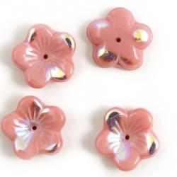 16 mm Glass Flower Bead Caps pink 2 pcs