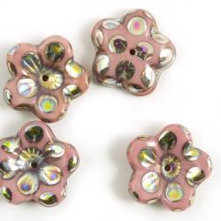 16mm Czech Glass Bead-Caps pink 2 pcs.