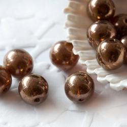 Czech Round Glass Beads 8 mm Brown-Bronze 10 pcs