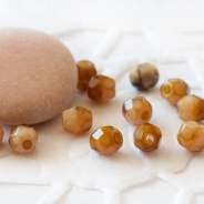 Czech Fire Polished Beads 4 mm Brown-Beige 40 pcs.