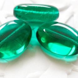 Czech Glass Oval Beads 15x10 mm Emerald Green 8 pcs