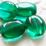 Czech Glass Oval Beads 10x8 mm Emerald Green 10 pcs