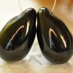 Czech Glass Drops Pendants 22x14 mm Black/Jet 2 pcs