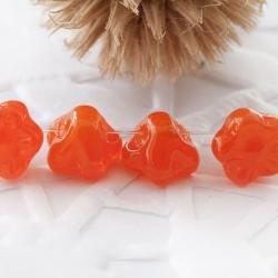 Czech Glass Beads 7mm Button Flower Orange 15 pcs